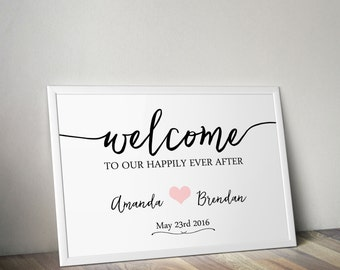 Welcome Sign for Wedding personalised printable digital file