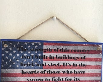 American flag with Captain America comic quote ~ Wall Plaque // Wall Art