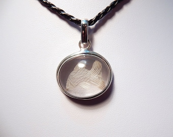 Handcrafted Sterling Silver Pendant with Carved Glass cabochon. (#P85)
