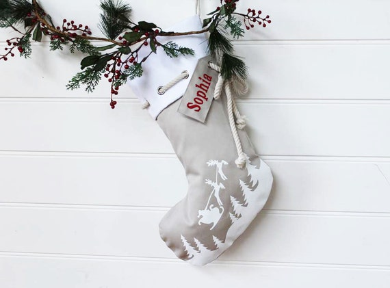 Personalised Christmas Stocking in stone with Santa sleigh