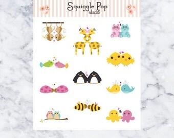Cute Animal Couple Stickers