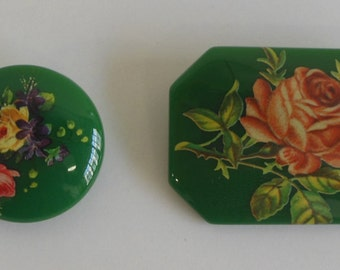 Vintage Floral Clip On Earrings with Matching Pin
