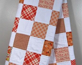 Tennessee Toddler Quilt - Orange White Checkerboard Quilt - Tennessee Stadium Quilt