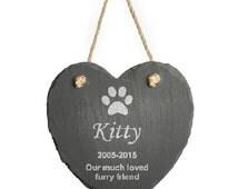 Personalised Engraved Hanging Slate Pet Memorial, 1 paw print