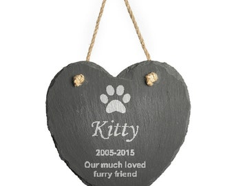 Personalised Engraved Hanging Slate Pet Memorial, 1 paw print
