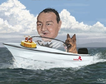 Custom caricature with body and environment of your choosing , photoshop painting portrait , caricature awesome gift