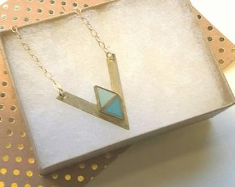Aqua harlequin chevron necklace