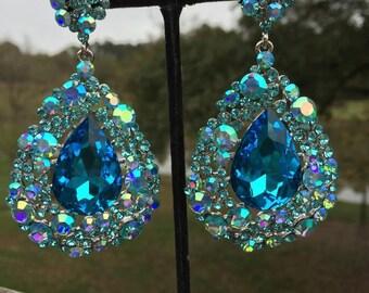 Aqua Earrings | 202-7 | Aqua Chunky Earrings | Large Aqua Earrings | Aqua Pageant Earrings | Aqua Prom Earrings | Bling Jewelry