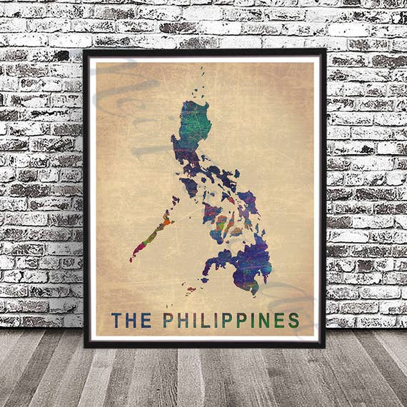 Vintage philippines map print watercolor painting filipino like this item publicscrutiny Images