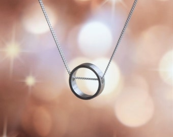 Mini Circle Pendant Necklace / Handmade Sterling Silver Necklace