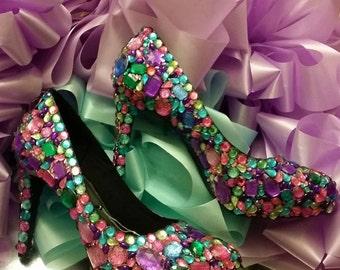 Multicolor Crystal Prom Shoe