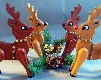 Handmade Wooden Reindeer - Rudolph and Regular holiday reindeer - Available in Cherry and Honey