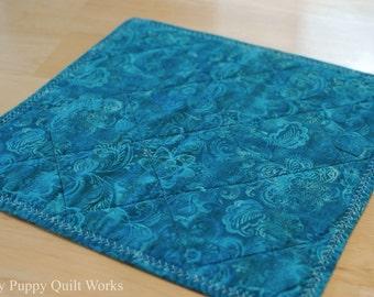 Quilted Table Topper, Blue Batik Table Mat, Tropical Batik Print Table Decor, Dark Blue Candle Mat, Blue Green Table Topper