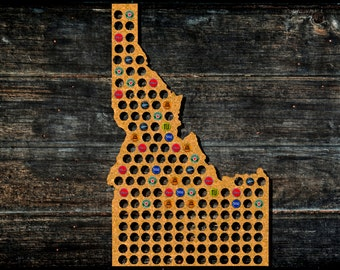 Idaho Beer Cap Map from Cork Tree Bottle Cap Art Beer Cap Holder Map raft Beer State Map Beer Lovers Gift for Beer Aficionado Gift for Him