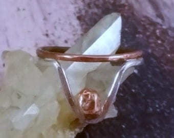Mixed Metal Sterling and Copper Chevron Ring