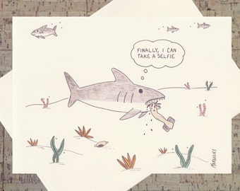 Funny Card, Funny Shark Card, Humor Card, Selfie Card, Funny Greeting Card, Quirky Card, All Occasion Card, Under The Sea, Cartoon Card