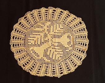 "Vintage hand crochet doily 15"" round"