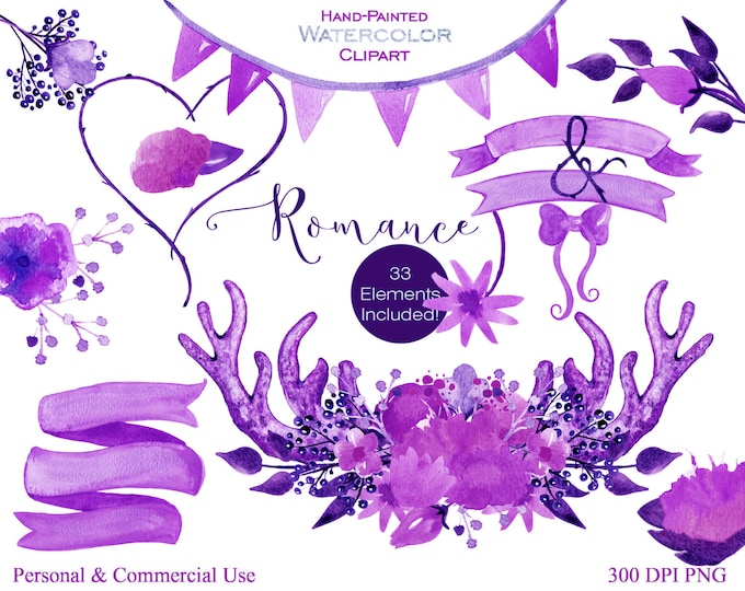 WATERCOLOR ANTLER CLIPART Commercial Use Clipart Romance Purple Watercolor Floral Bouquets Banners Deer Antlers Backgrounds Wedding Clip art