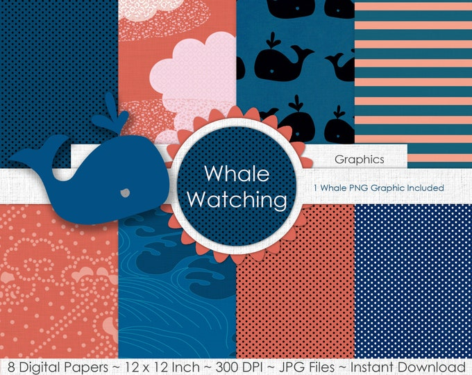 NAVY & CORAL WHALE Digital Paper Pack Commercial Use Digital Backgrounds Coral Peach Surf Blue Clouds Stripes Whale Nautical Printable Paper