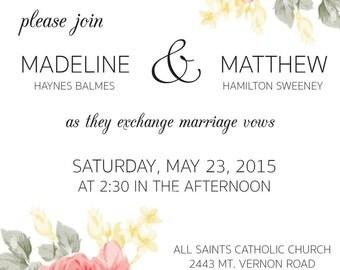 Floral Wedding Invitation & RSVP Card