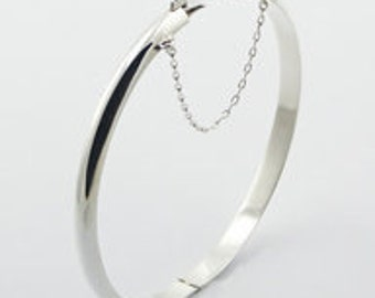 Perfect High Polish Classic Sterling Silver Hinged Bangle