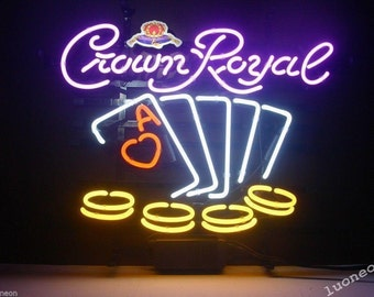 MAN CAVE Hand Crafted Genuine Neon Sign  Crown Royal