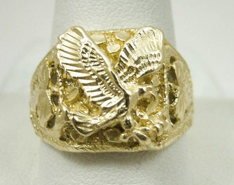 NEW Solid 14K Yellow Gold Mens Eagle Leaf Nugget Ring Size 10 Size 11, 7.3 grams