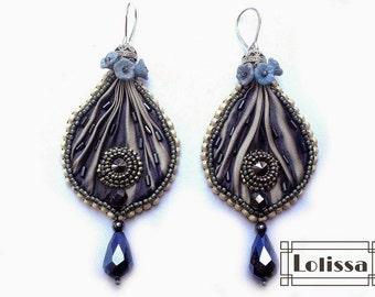 "Shibori earrings ""Evening Mist"""