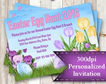 Personalized Printable Invitations | Easter | Easter Egg Hunt | Spring | Holiday |   #98