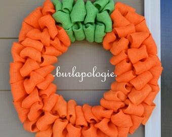 Pumpkin Burlap Wreath, Orange Halloween Wreath, Rustic Fall Decor, **CHOOSE your SIZE!**