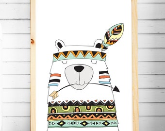 Nursery Print | Tribal Prints | Bear Prints | Woodland Animal Prints | Nursery & Bedroom Decor | A4 A3 | Kids Wall Art