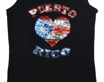 I love Puerto Rico bling tank top sequins shirt