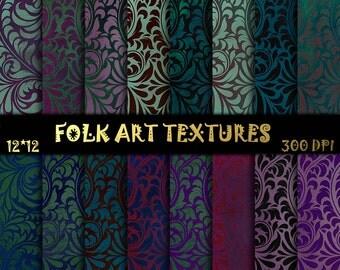 Floral Folk ART Scrapbooking Floral digital paper floristic ornament Floral Pattern Folk digital paper Floral Scrapbooking background