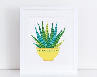 Botanical Print / Printable Succulent Wall Art / 8 x 10 Printable Art Succulent / Desert Art Printable / Nursery Printable / Plant Print