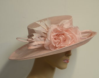 Stunning Marshmallow Wide Brim sinamay Hat, Kentucky Derby Hat, English Royal hat, Wedding Hat, Formal Hat, Church Hat