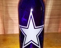 Dallas Cowboys Lamp - Hand Etched Wine Bottle Lamp -Cowboys Fans -NFL Lamp - Nightlight - Top Selling Cowboys