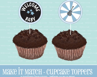 Make It Match,Baby Boys Rock,BABY Shower CUPCAKE TOPPERS,Printable,Baby Shower,Baby,Instant Download,Cupcake,Topper,Cupcake Topper