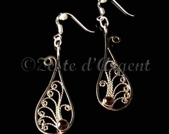 Silver tears earrings massif and lapis lazuli, watermark of Russia