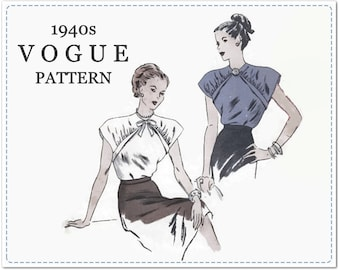 1940s Sewing Pattern - Vintage Vogue 5658 - Misses Blouse with Cap Sleeves and Front Yoke Detail - Size 14 Bust 32 - Chic Retro Blouse