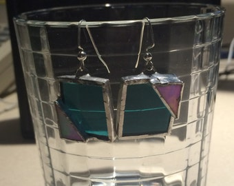 Teal and White Iridescent Stained Glass Earrings