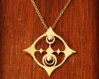 Crop Circle Brass Pendant, Includes Brass Chain