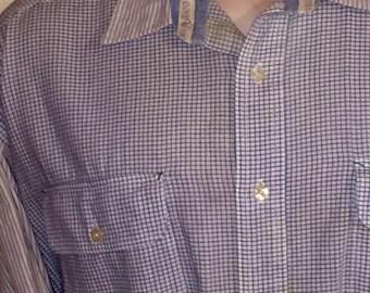 Vintage Flap pocket long sleeve blue & white cotton check shirt by Tommy HILFIGER Jeans Sz XL