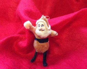 Antique combed cotton Santa Ornament - - vintage composition face St. Nick Decoration