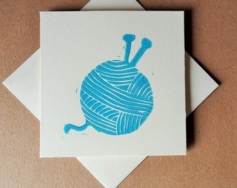 Card for Knitter - Knitting Card - Linocut - Linocut Cards - Notecard - Birthday card - Thank you card - wool card - card for crafter