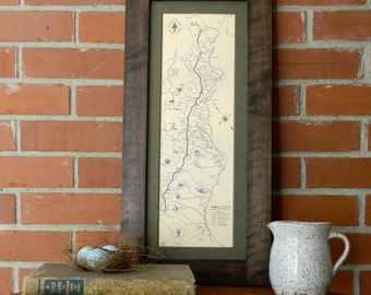 Appalachian Trail Map 1934 - Reproduction Map - Handmade Mortise & Tenon Style Black Walnut or Poplar Frame - Free Shipping