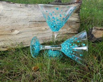 Sale! Ready to ship! Teal and blue confetti martini glass set, blue confetti martini glass set, teal confetti martini glass set