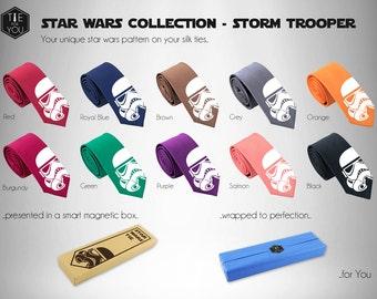 Storm Trooper Star Wars Silk Tie - Force Awakens Tie - Slim Tie - Wedding Tie, Christmas Gift, Birthday Gift-FREE UK Shipping