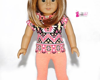 18 inch Girl Doll Clothing, made to fit like American Girl Doll clothes, Aztec Inspired Neon Orange Knit Top and Neon Orange Knit Capris
