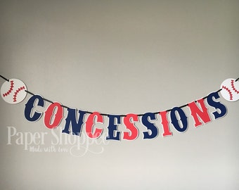 Concessions banner baseball themed banner