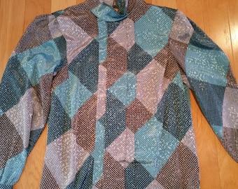 Vintage multicolor houndstooth turtleneck blouse